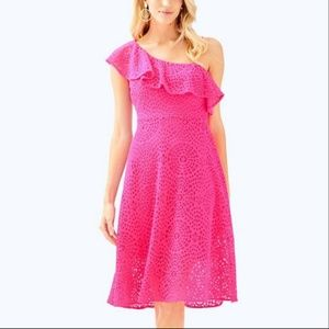 NWT Lilly Pulitzer Size 00 One shoulder pink dress